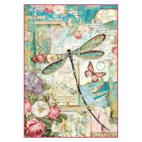 Stamperia Reispapier A4 Wonderland Dragonfly