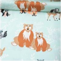 Baumwolle Hello Bear - Tierfamilien auf Mint