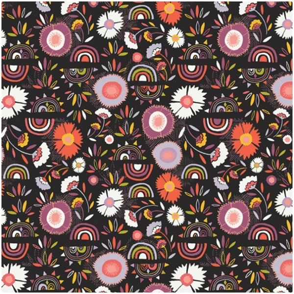 Baumwolle Kushukuru - Blumen auf Schwarz