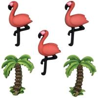Knöpfe Set Pretty Flamingo