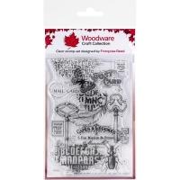 Woodware Clear Stamp Set Ephemera Background