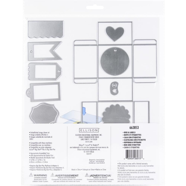 Stanzschablone Sizzix Framelits Box & Labels