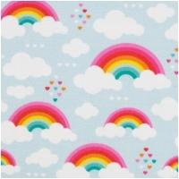 Baumwolle KIM Regenbogen mit Herzen Hellblau