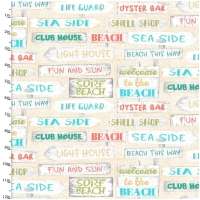 Baumwolle Beach Travel Beach Signs Ecru
