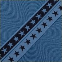 Gummiband mit Sternen 20mm Marine/Jeansblau