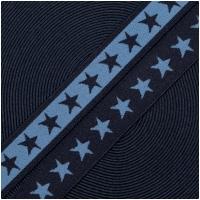 Gummiband mit Sternen 20mm Jeansblau/Marine