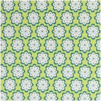 Baumwolle JULIA Blüten Petrol/Weiss auf Lime