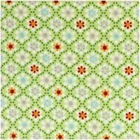 Baumwolle JULIA Blüten in Punkten Lime