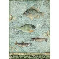 Stamperia Reispapier A4 Forest Fish