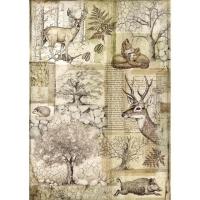 Stamperia Reispapier A4 Forest Deer and Wild Boar