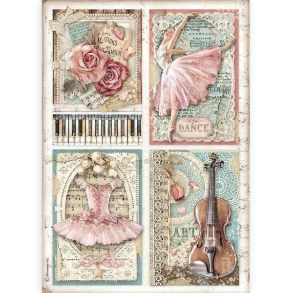 Stamperia Reispapier A4 Passion Cards