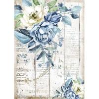 Stamperia Reispapier A4 Romantic Sea Dream Blue Flower