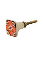 Möbelknopf Quadratisch orange mit weissen Blumen