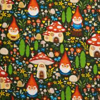 Baumwolle Gnome Sweet Gnome Dunkelgrün
