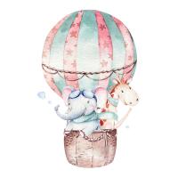 Safuri Bügelbild Ballon mit Elefant und Giraffe