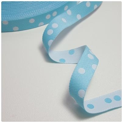 Farbenmix Webband Punkte hellblau-weiss