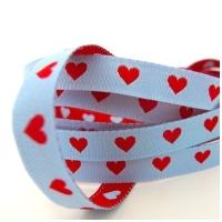 Farbenmix schmales Herzchen Webband rot-hellblau