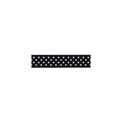 """Repsband """"Polka Dots"""", weiss auf schwarz"""