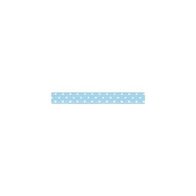 """Repsband """"Polka Dots"""" schmal, weiss auf hellblau"""