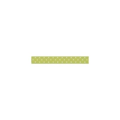 """Repsband """"Polka Dots"""" schmal, elfenbein auf hellgrün"""