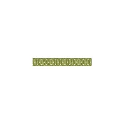 """Repsband """"Polka Dots"""" schmal, weiss auf olivgrün"""
