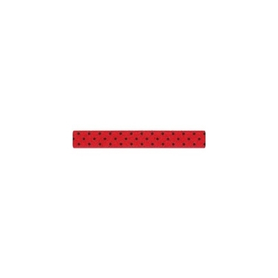 """Repsband """"Polka Dots"""" schmal, schwarz auf rot"""