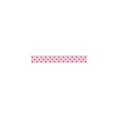 "Repsband ""Polka Dots"" schmal, braun auf rosa"