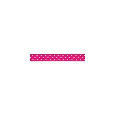 """Repsband """"Polka Dots"""" schmal, weiss auf pink"""