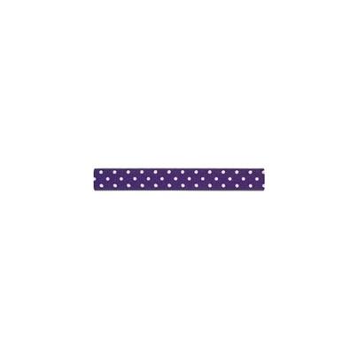 """Repsband """"Polka Dots"""" schmal, weiss auf violett"""