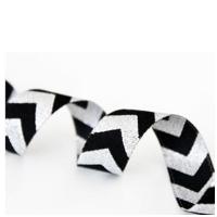 Farbenmix Webband Chevron schwarz-silber