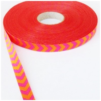Farbenmix Webband Chevron pink-orange