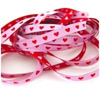 Farbenmix schmales Herzchen Webband rosa-rot