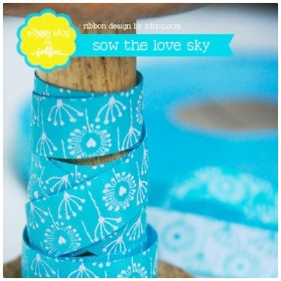 Farbenmix Webband Sow the Love sky