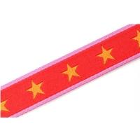 Farbenmix Webband Sterne orange-rot-pink