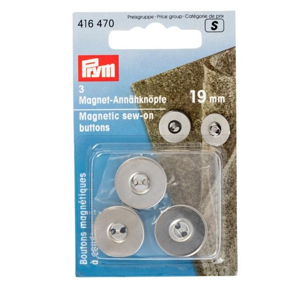PRYM Magnet Annähknöpfe, silbrig, 19mm, 3 Stk