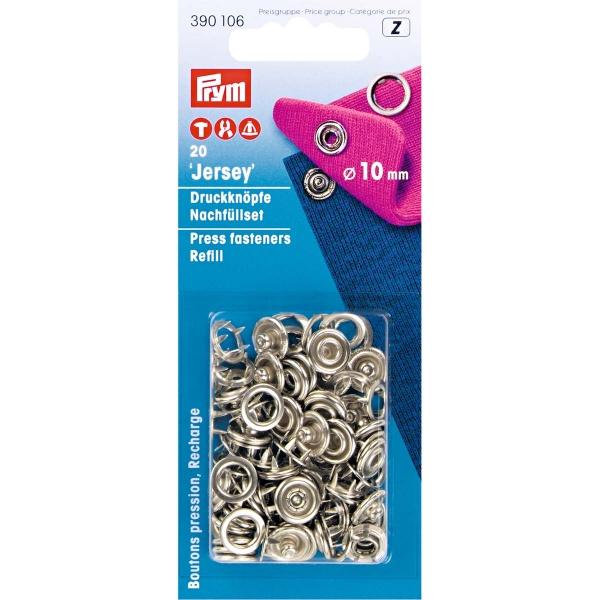 Prym 20 Stk. Jersey Druckknöpfe, 10mm, ring silber