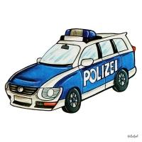Safuri Bügelbild Polizeiauto blau