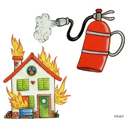 Safuri Bügelbild Haus & Feuerlöscher