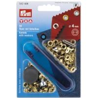 Prym Oesen mit Scheiben 4mm Gold 50 Stk