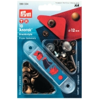 Prym 10 Anorak Knöpfe,12mm inkl. Tool, altmessing