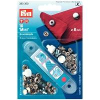 Prym 10 Mini Druckknöpfe,8mm inkl. Tool, silber