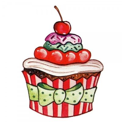 Safuri Bügelbild Cupcake Schleife