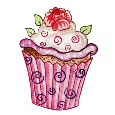 Safuri Bügelbild Cupcake Rose
