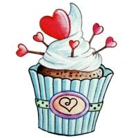 Safuri Bügelbild Cupcake Herzen