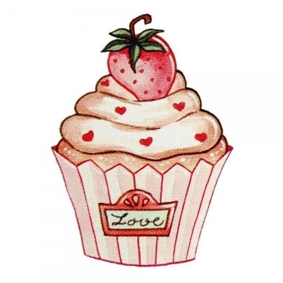 Safuri Bügelbild Cupcake Erdbeere